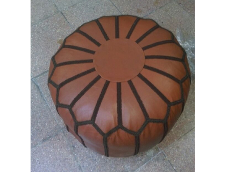 Beige Leather Pouffe Pouf Puff Footstool Ottoman [ Click to See Photos ]
