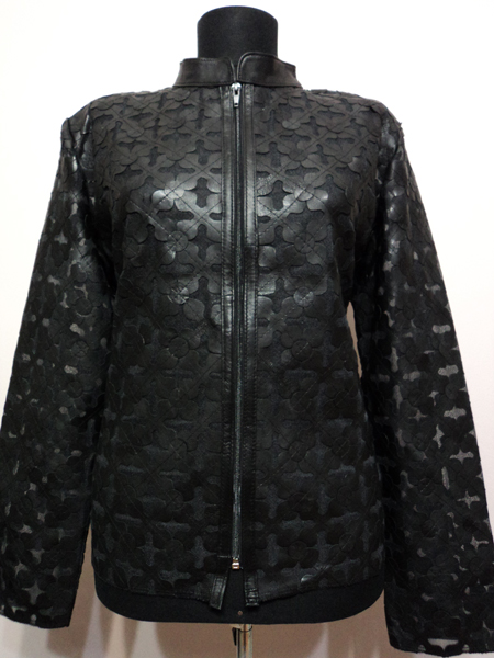 Black Leather Leaf Jacket for Women Design 06 Genuine Short Zip Up Light Lightweight [ Click to See Photos ]