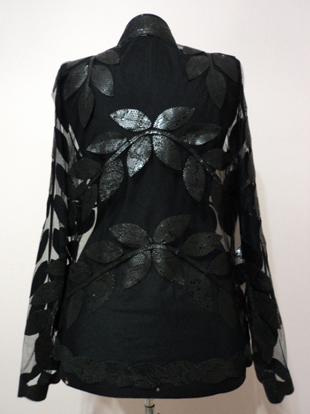 Black Snake Pattern Leather Leaf Jacket for Women V Neck Design 10 Genuine Short Zip Up Light Lightweight