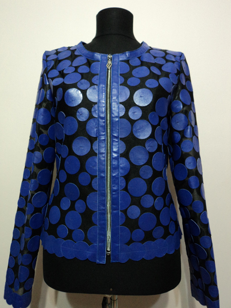 Blue Leather Leaf Jacket for Women Design 07 Genuine Short Zip Up Light Lightweight [ Click to See Photos ]