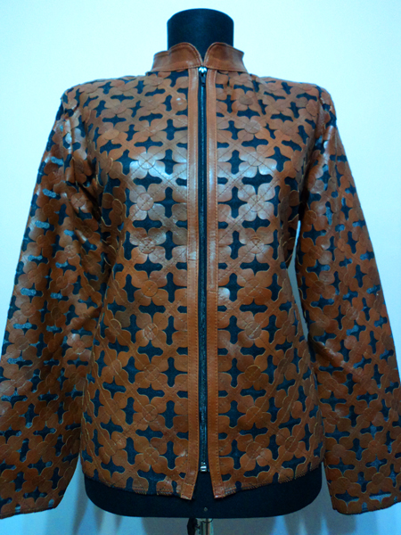 Brown Leather Leaf Jacket for Women Design 06 Genuine Short Zip Up Light Lightweight [ Click to See Photos ]