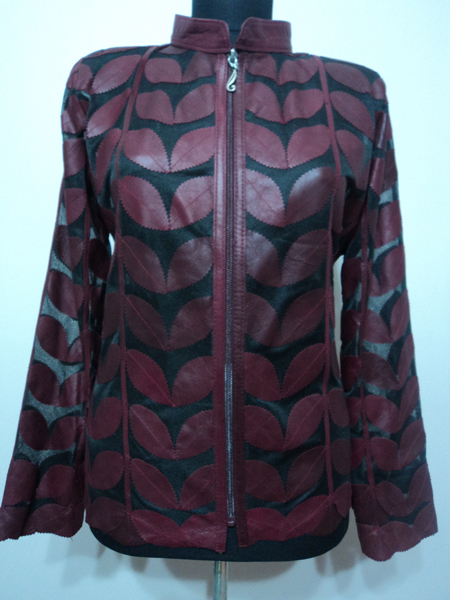 Burgundy Leather Leaf Jacket
