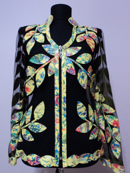 Flower Pattern 1 Yellow Leather Leaf Jacket for Women V Neck Design 10 Genuine Short Zip Up Light Lightweight [ Click to See Photos ]