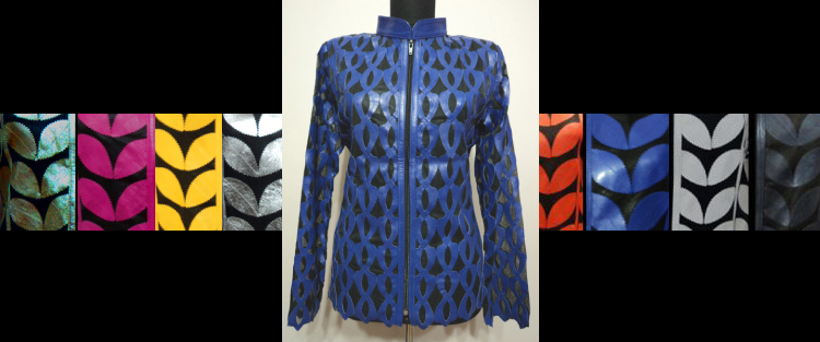 Leather Leaf Jacket for Women Design 05 Genuine Short Zip Up Light Lightweight [ Click to See Photos ]
