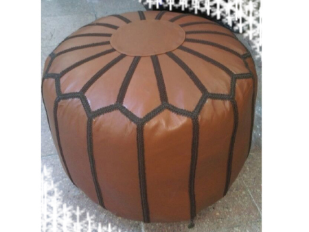 Orange Leather Pouffe Pouf Puff Footstool Ottoman [ Click to See Photos ]