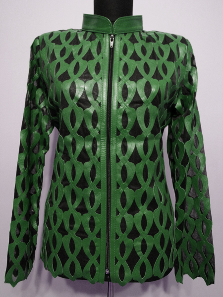 Plus Size Green Leather Leaf Jacket for Women Design 05 Genuine Short Zip Up Light Lightweight [ Click to See Photos ]