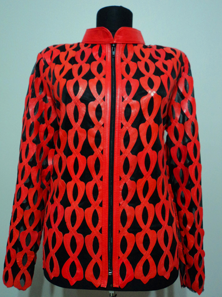 Plus Size Red Leather Leaf Jacket for Women Design 05 Genuine Short Zip Up Light Lightweight