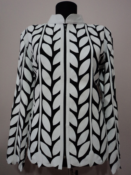 Plus Size White Leather Leaf Jacket for Women Design 04 Genuine Short Zip Up Light Lightweight