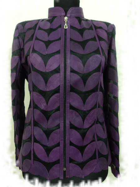 Purple Leather Leaf Jacket