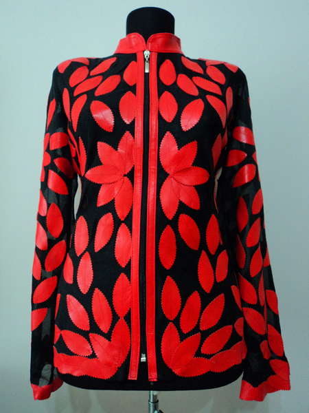 Red Leather Leaf Jacket for Women