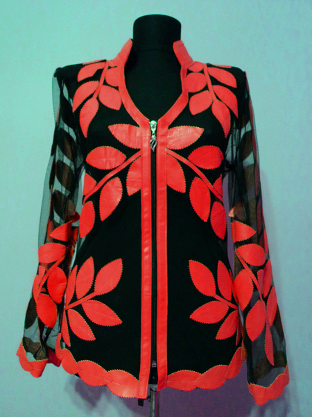Red Leather Leaf Jacket for Women V Neck Design 10 Genuine Short Zip Up Light Lightweight