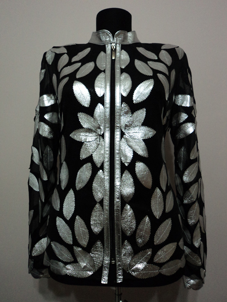 Silver Gray Leather Leaf Jacket for Women