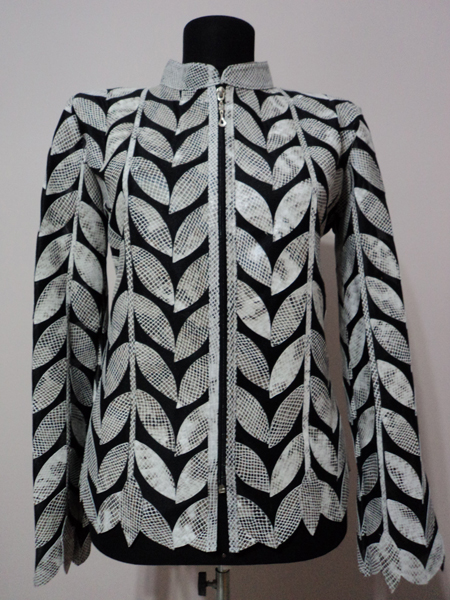 White snake Pattern Leather Leaf Jacket for Women Design 04 Genuine Short Zip Up Light Lightweight