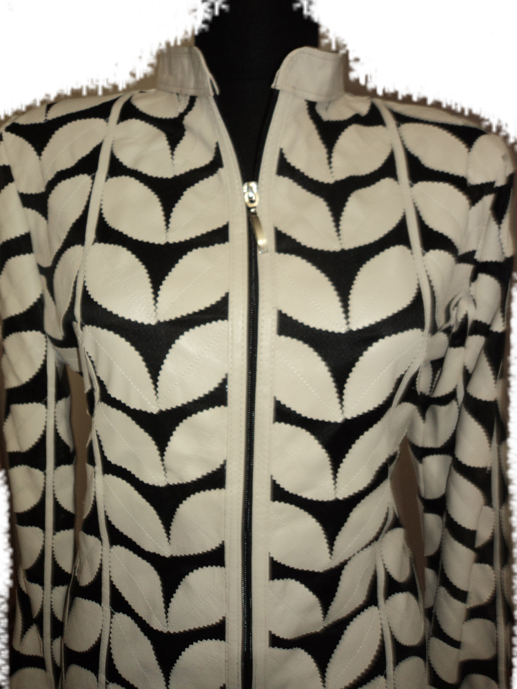 Womens Beige Leather Leaf Jacket