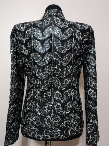 Black Leopard Pattern Leather Leaf Jacket for Women