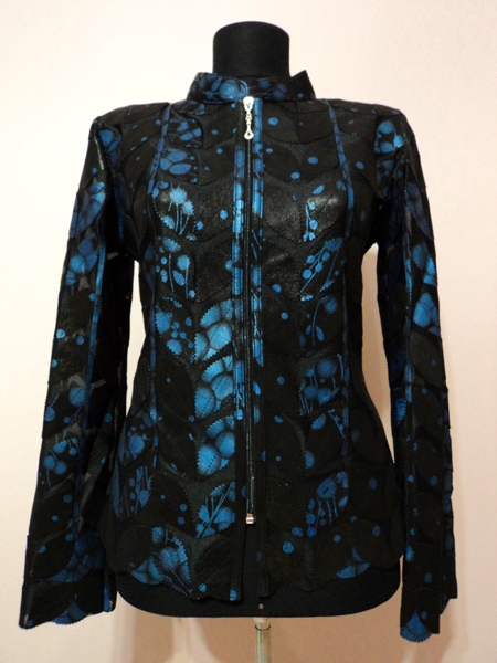 Blue Spotted Black Leather Leaf Jacket for Women [ Click to See Photos ]