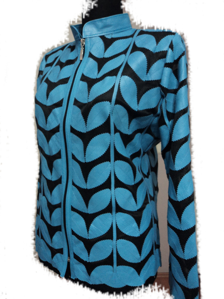 Light / Ice / Baby Blue Leather Leaf Jacket for Women