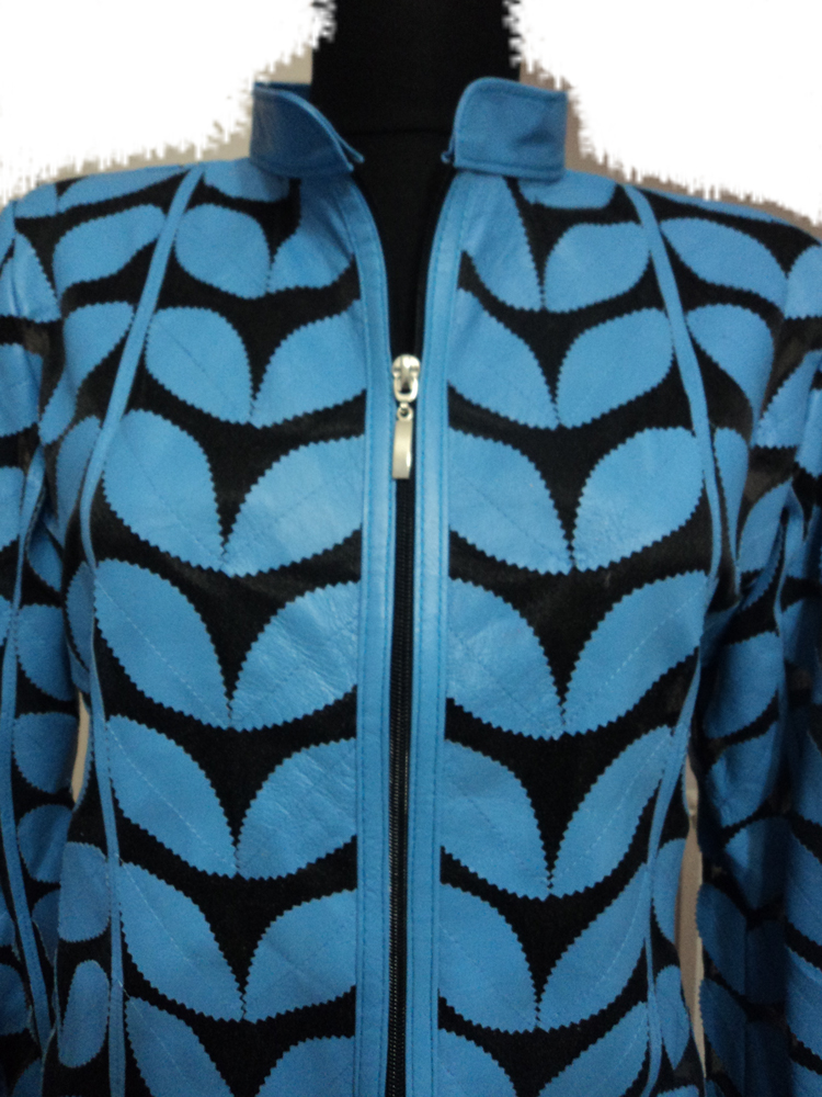 Womens Light / Ice / Baby Blue Leather Leaf Jacket