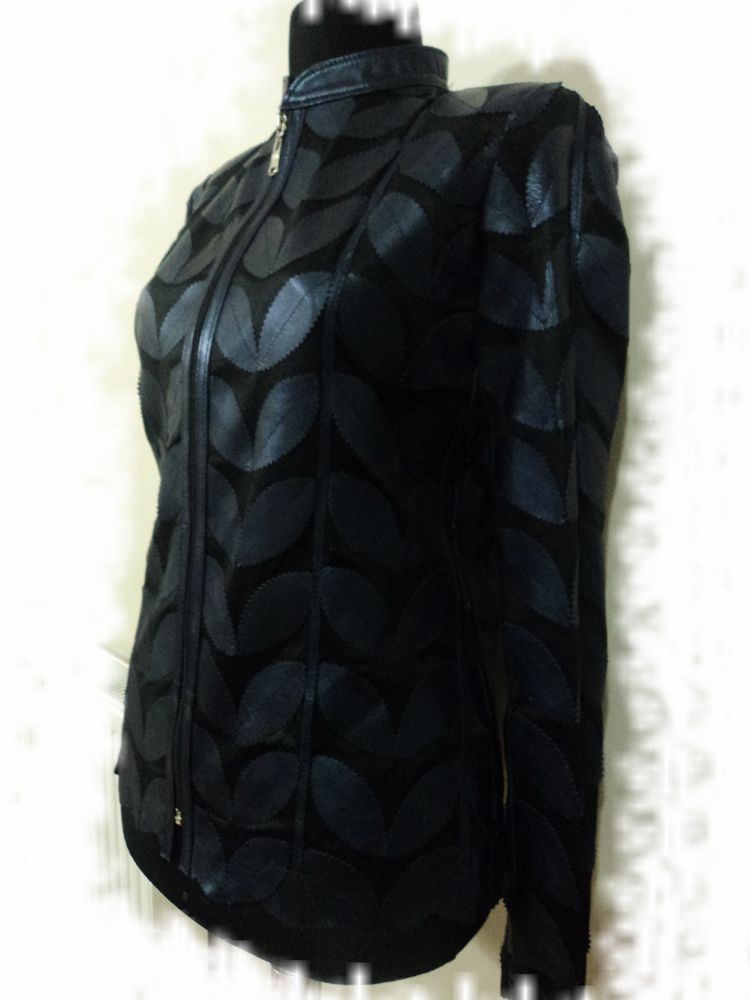 Womens Navy Blue Leather Leaf Jacket