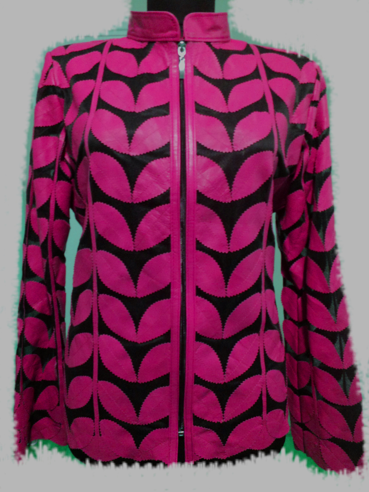 Womens Pink Leather Leaf Jacket