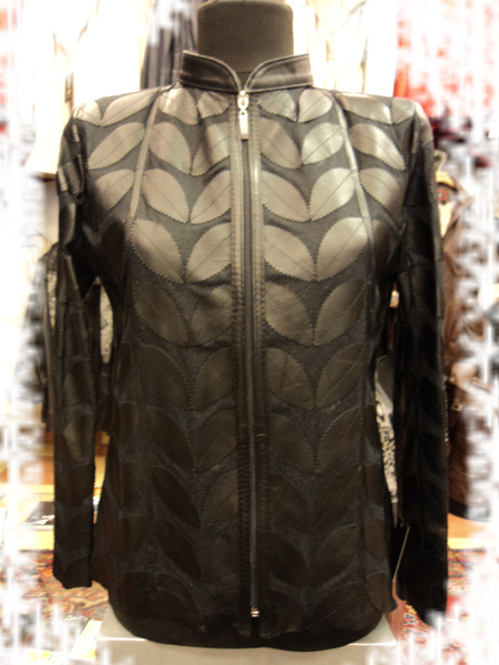 Plus Size Black Leather Leaf Jacket for Women [ Click to See Photos ]