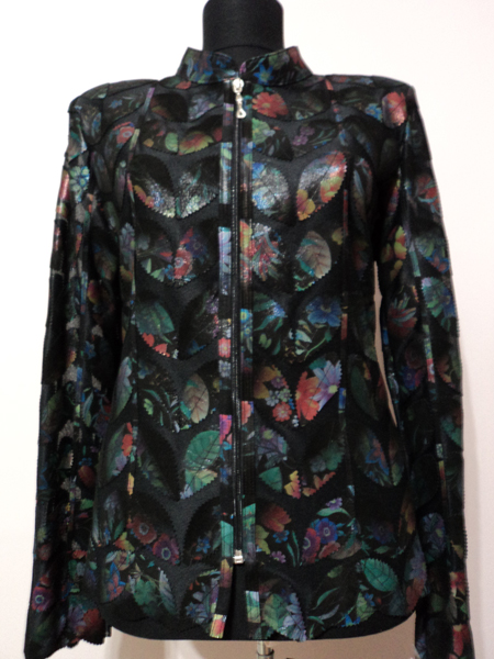 Plus Size Flower Pattern Black Leather Leaf Jacket for Women [ Click to See Photos ]