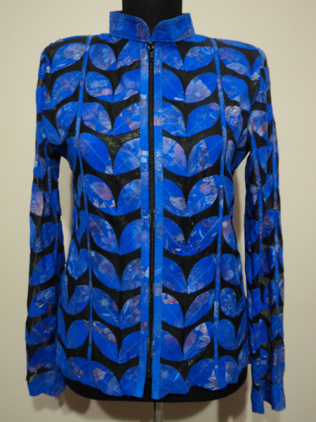 Plus Size Flower Pattern Blue Leather Leaf Jacket for Women [ Click to See Photos ]