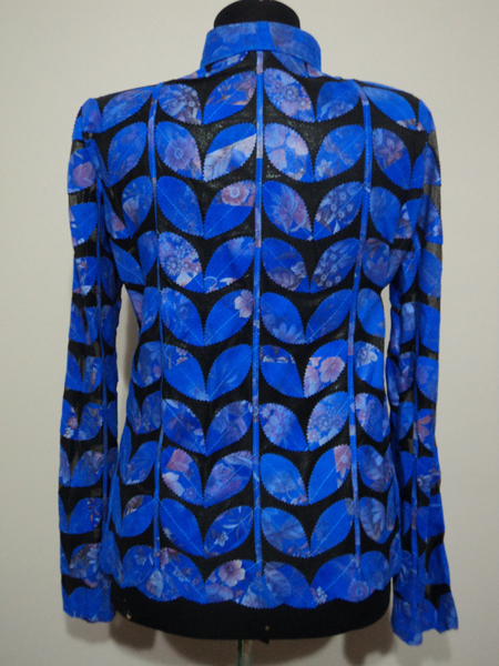 Plus Size Flower Pattern Blue Leather Leaf Jacket for Women