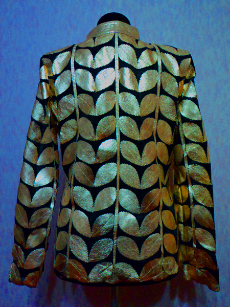 Plus Size Gold Leather Leaf Jacket for Women