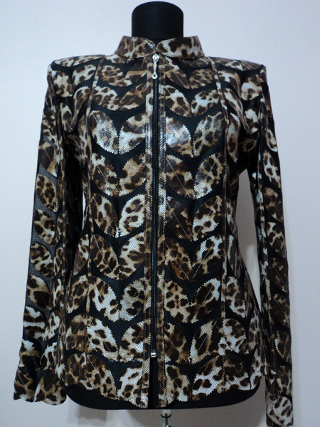 Plus Size Leopard Pattern Black Leather Leaf Jacket for Women [ Click to See Photos ]