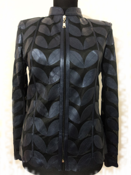Plus Size Navy Blue Leather Leaf Jacket for Women [ Click to See Photos ]