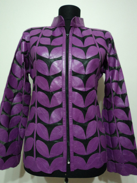 Plus Size Purple Leather Leaf Jacket for Women [ Click to See Photos ]