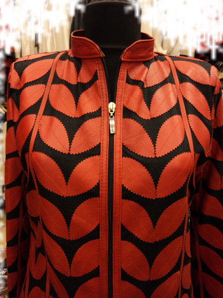 Plus Size Red Leather Leaf Jacket for Women