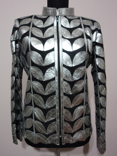 Plus Size Shiny Silver Gray Leather Leaf Jacket for Women [ Click to See Photos ]