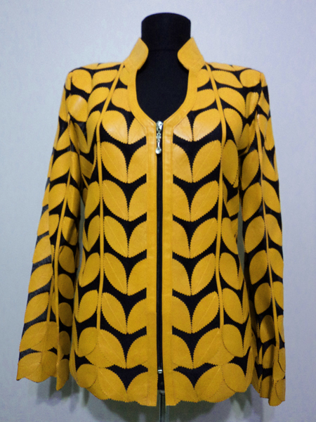 Yellow Leather Leaf Jacket for Women V Neck Design 09 Genuine Short Zip Up Light Lightweight [ Click to See Photos ]